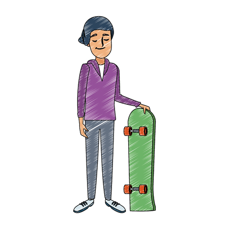 Young man with skateboard vector illustration graphic design