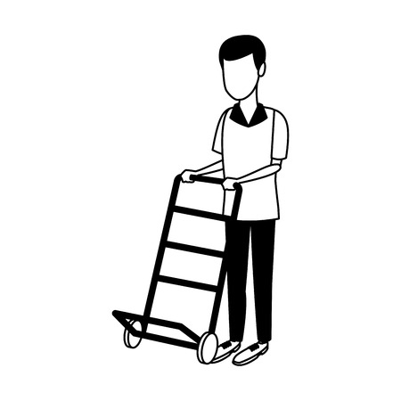 Courier with hand truck vector illustration graphic design