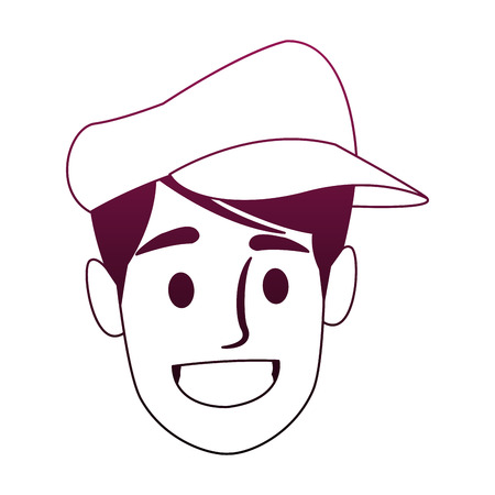 Man's face with cap in cartoon vector illustration graphic design