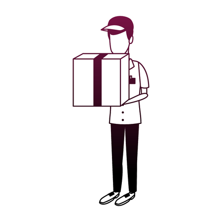 Courier holding box vector illustration graphic design