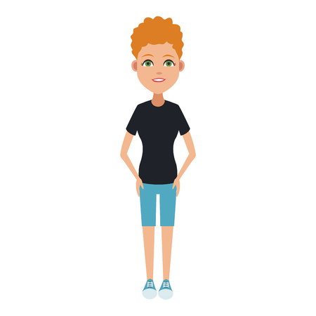Young woman cartoon with casual clothes Stock Illustratie