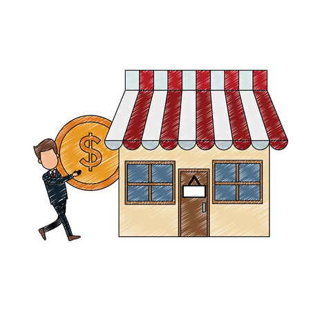 Businessman with coin at store vector illustration graphic design