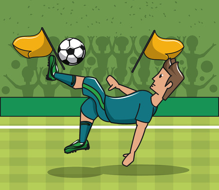 Soccer player playing on field with ball vector illustration graphic design Illustration
