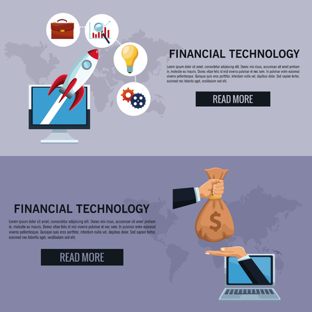 Online financial technology infographic vector illustration graphic design Stock Illustratie