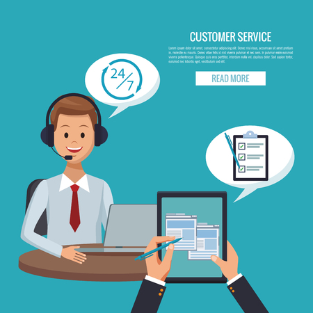 Customer service banner with read more button vector illustration graphic design