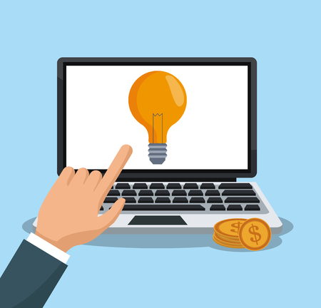 Hand using laptop to make money illustration graphic design