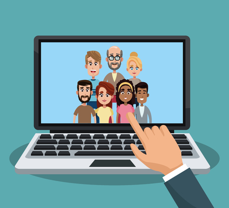 Video call to family from laptop concept illustration graphic design