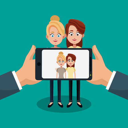 Taking a picture with smartphone cartoon concept vector illustration graphic design