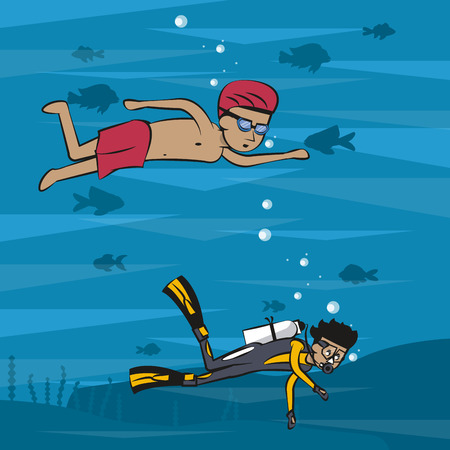 People on summer practicing differents water sports cartoon vector illustration graphic design