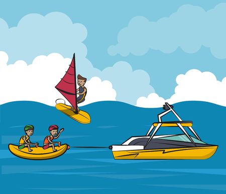 People on summer practicing different water sports cartoon vector illustration graphic design.