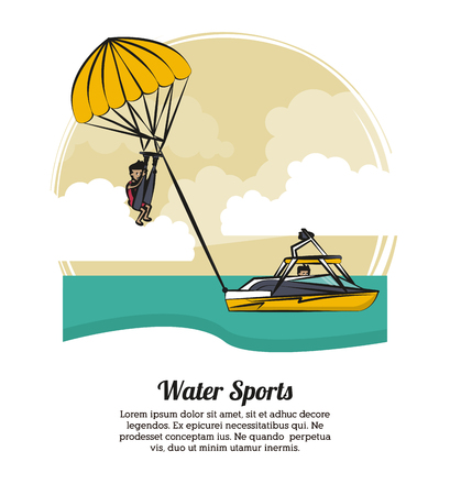 Water sports banner with information concept vector illustration graphic design.