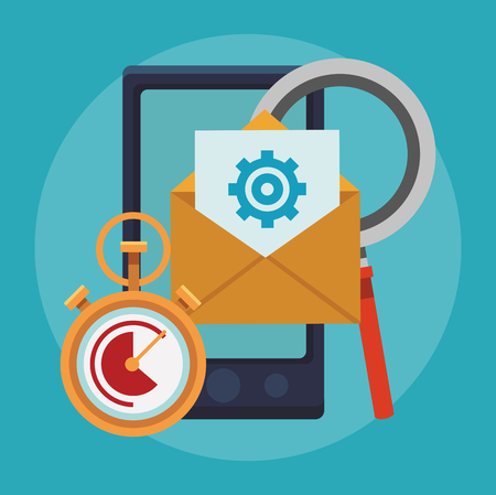 Email business communication from smartphone vector illustration graphic design. Illustration