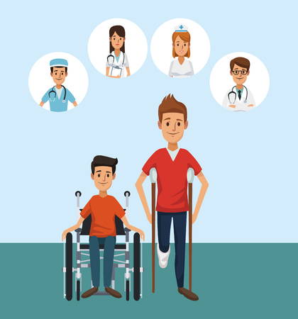 Patient with round medical symbols Illustration