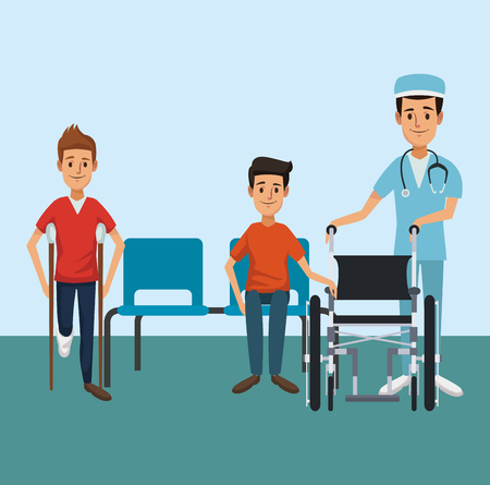 Patient with medical team inside hospital vector illustration graphic design