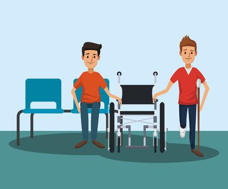 Patient with medical team inside hospital vector illustration graphic design