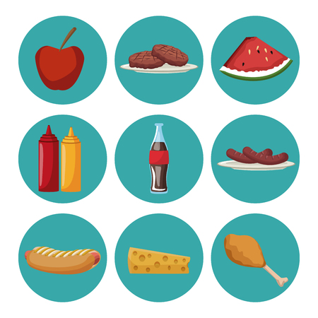 Set of picnic food collection on round symbols vector illustration graphic design