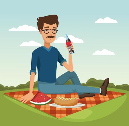 Man drinking soda at picnic vector illustration graphic design