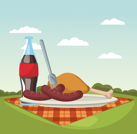 Picnic in the park vector illustration graphic design Illustration