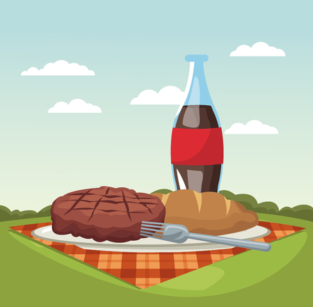 Picnic in the park vector illustration graphic design Vectores