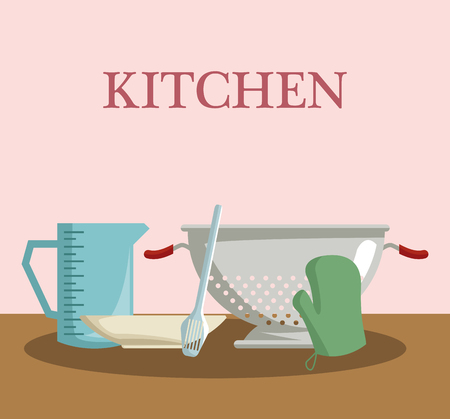 Kitchen utensils and food concept vector illustration graphic design