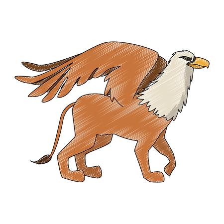 Griffin fantastic creature cartoon vector illustration graphic design Illustration