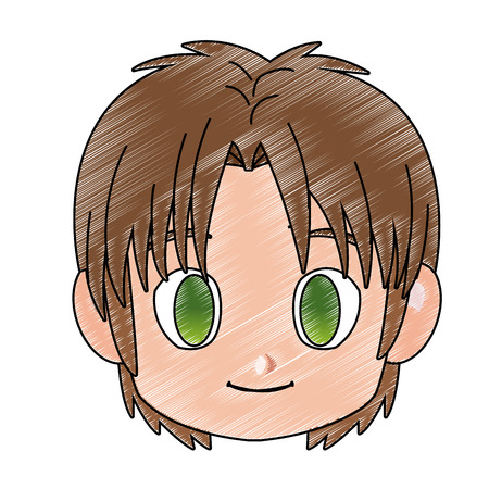 Manga boy face cartoon icon vector ilustration icon vector ilustration