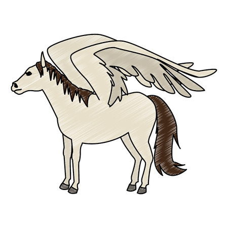 Pegasus fantastic creature cartoon vector illustration graphic design  イラスト・ベクター素材