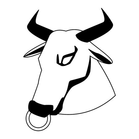 Bull head cartoon vector illustration graphic design