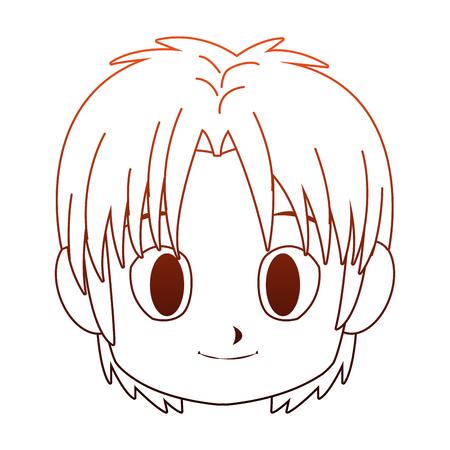 Manga boy face cartoon vector illustration graphic design Illustration