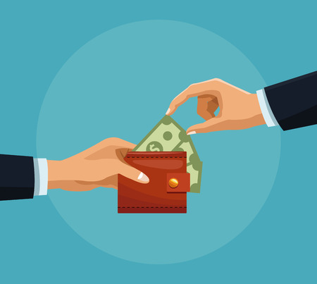 Hand grabbing money from wallet cartoons vector illustration graphic design.