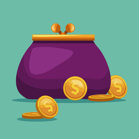 Purse with coins cartoon concept vector illustration graphic design
