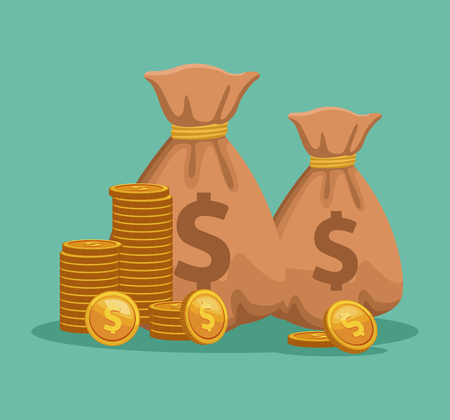 Money bags and coins vector illustration graphic design