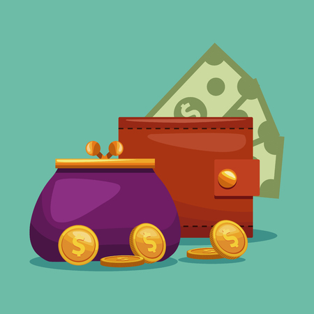 Wallet and purse concept vector illustration graphic design Illustration