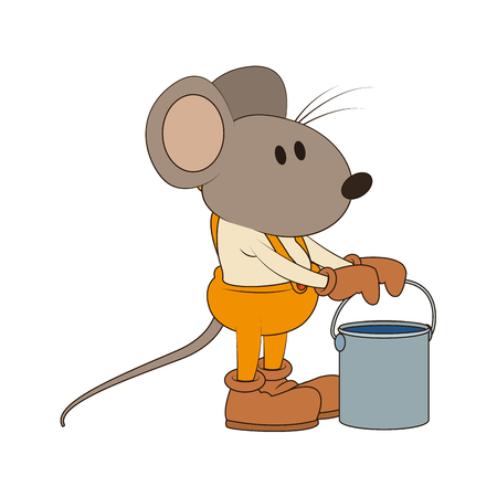Worker mouse with paint bucket vector illustration graphic design