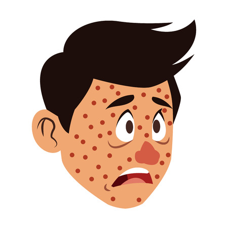 Man face with chickenpox vector illustration graphic design