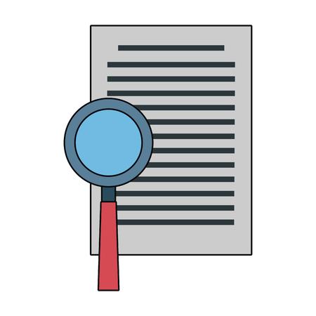 Dokument mit Grafikdesign der Lupenvektorillustration Vektorgrafik
