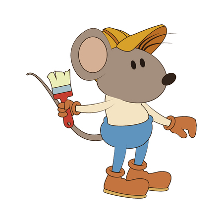 Worker mouse with paint brush vector illustration graphic design
