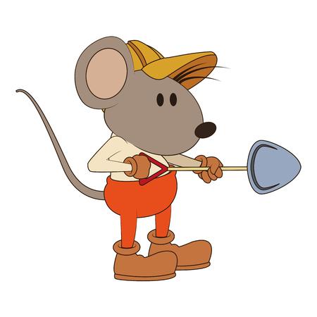 Worker mouse with shovel vector illustration graphic design Standard-Bild - 100893608