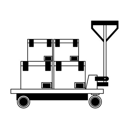 Boxes on cart icon Stock Illustratie