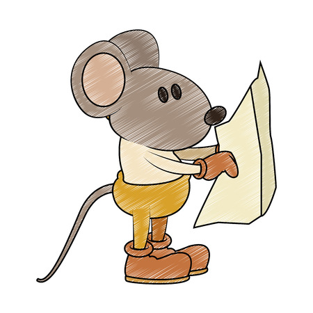 Worker mouse with construction plans vector illustration graphic design