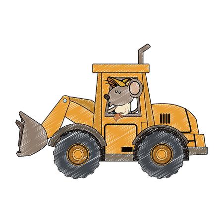 worker mouse driving backhoe vector illustration graphic design Illustration