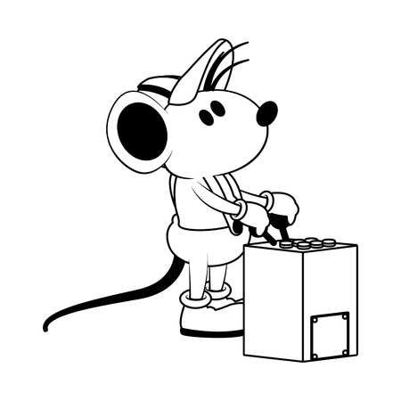 Worker mouse with crane controls vector illustration graphic design