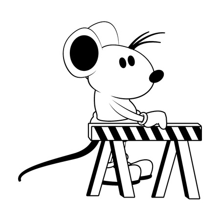 Worker mouse with construction barrier vector illustration graphic design Illustration