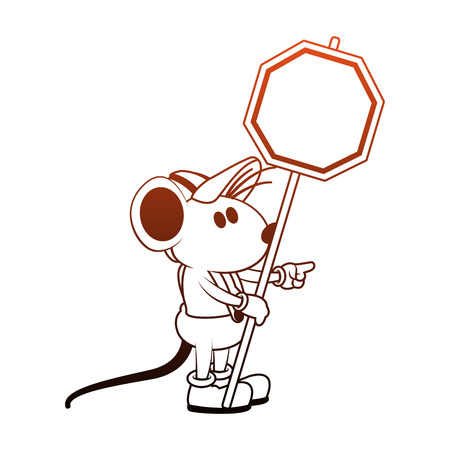Worker mouse with road sign vector illustration graphic design