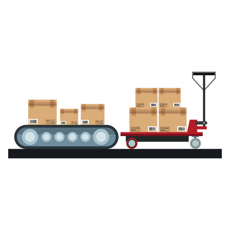 Boxes on conveyor and handtruck vector illustration graphic design Stock Illustratie
