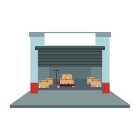 Warehouse with boxes and handtruck vector illustration graphic design
