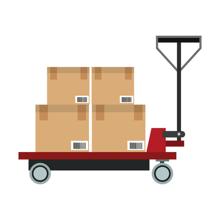Boxes on cart vector illustration graphic design Illustration