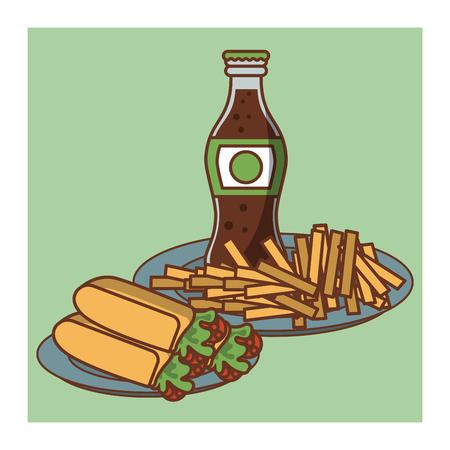 Tacos Mexican fast food combo cartoon vector illustration graphic design. Иллюстрация