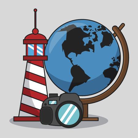 Vacations and travel elements cartoons vector illustration graphic design Ilustração