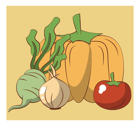 Fresh vegetables cartoons concept vector illustration graphic design